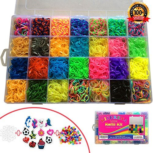 Kiserena Loom Refill Kit A Great Christmas Gift For Kids. Includes 7000 Loom Bands In 28 Colors: Tie Dye, Glow...