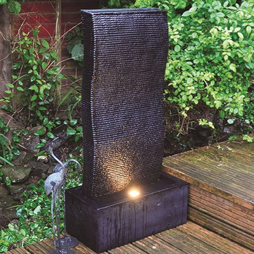 Tall Ripple Effect Garden Water Feature Fountain With LED