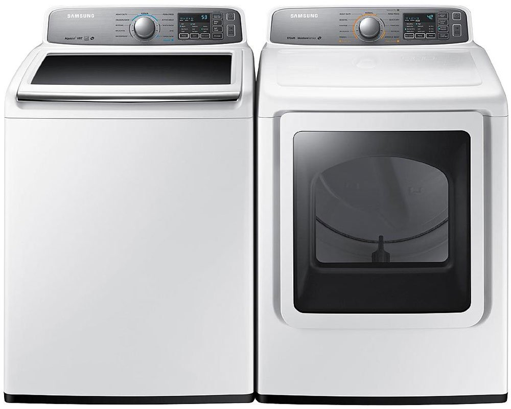 "Samsung Appliance White Top Load Laundry Pair with WA48H7400AW 27"" Washer and DV48H7400EW 27"" Electric Dryer in White"