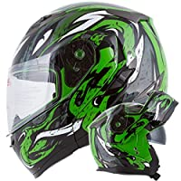 VIPER Modular Dual Visor Motorcycle / Snowmobile Helmet DOT Approved (IV2 Model #953) - Green (M) from Ivolution Sports, Inc