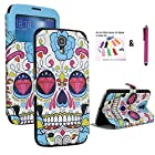The Little Penguin Colorful Fashion Window Stand Case with Magnetic Closure for Samsung Galaxy Mega 6.3 with AT&T, Sprint, MetroPCS, U.S. Cellular (Colorfull Skull)