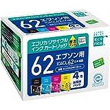 エコリカ リサイクルインクカートリッジ EPSON 4色セット(BK/C/M/Y) IC4CL62 ECI-E624P/BOX