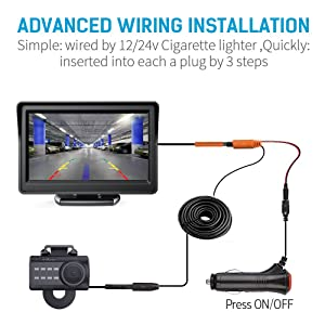 Aokur HD Backup Camera with 7 TFT LCD Rear View Monitor Waterproof Night Vision License Plate Starlight Cam Reverse Parking Assistance Kit for Car Vehicle Bus Truck Van Camper RVs ATV
