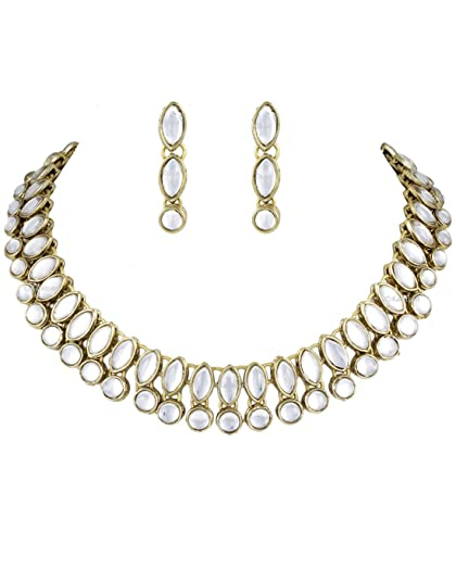 Aarvi Boat Shape Kundan Necklace Set at amazon