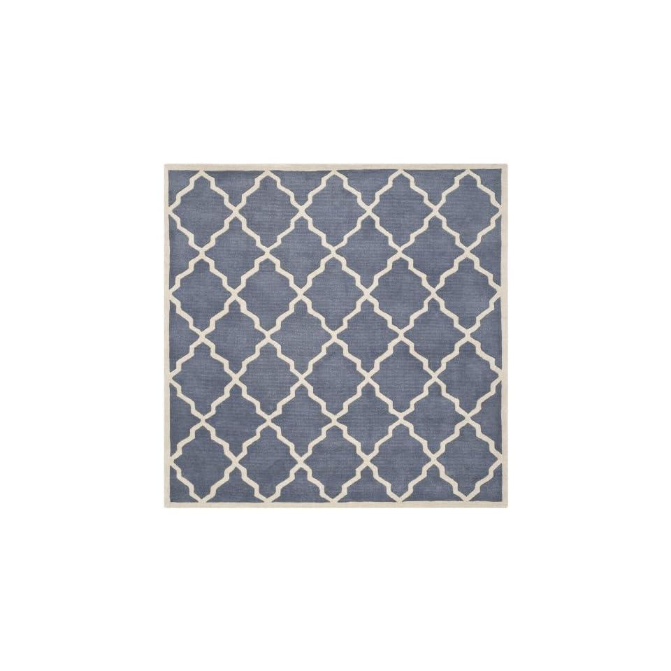 Safavieh Chatham Collection CHT940K Handmade Grey Premium Wool Square Area Rug (7 Square)