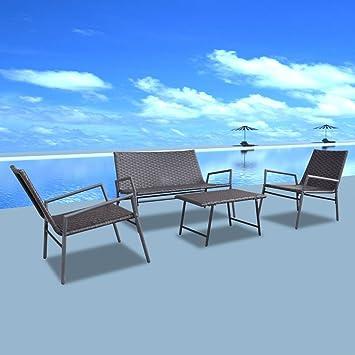 vidaXL Set mobili da giardino in polirattan Sedie Tavolo 4 pezzi Marrone