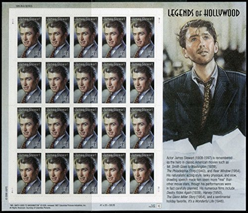 James (Jimmy) Stewart: Legends of Hollywood, Full Sheet of 20 x 41 Cent Stamps, USA 2007, Scott 4197