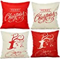 HOSL PSD12 Merry Christmas Cotton Linen Square Decorative Throw Pillow Case Cushion Cover (Set of 4)