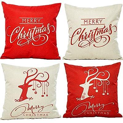 HOSL PSD12 Merry Christmas Cotton Linen Square Decorative Throw Pillow Case Cushion Cover (Set of 4)