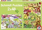 Schmidt Colourful Animal World Jigsaws (2x48 Pieces)