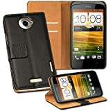 HTC One X/XL/Plus+ Smart Phone Wallet Case Leather Magnet Flip Cover Black+2 Free Screen Protectors By Casestyle�
