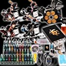Professional Complete Tattoo Kit 5 Top Machine Gun 54 Color Ink 20 Needles Power Supply