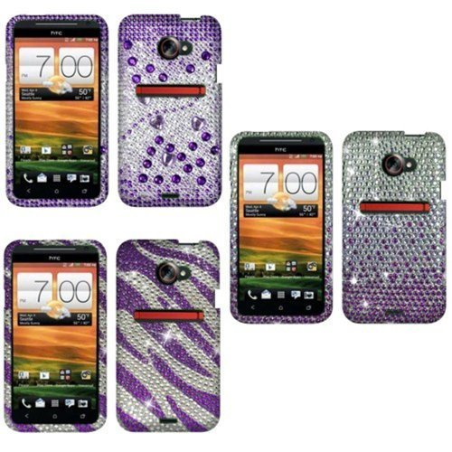 Combo 3: Purple/ Silver Beats + Purple + Purple/ White Zebra Bling Rhinestones Protector Case For Htc Evo One...
