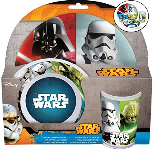 Joy Toy Star Wars Set 3 Pz : Piatto Piano, Fondo E Bicchiere, Melamina, Multicolore, 23.50X7X23 Cm
