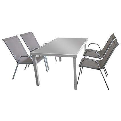 5tlg. Gartengarnitur Sitzgruppe Terrassenmöbel Gartenmöbel Set Glastisch 150x90cm + 4x Stapelstuhl mit Textilenbespannung