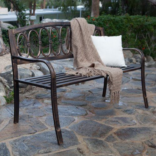 LB International Verona 4-ft. Curved Back Garden Bench, Bronze, Steel