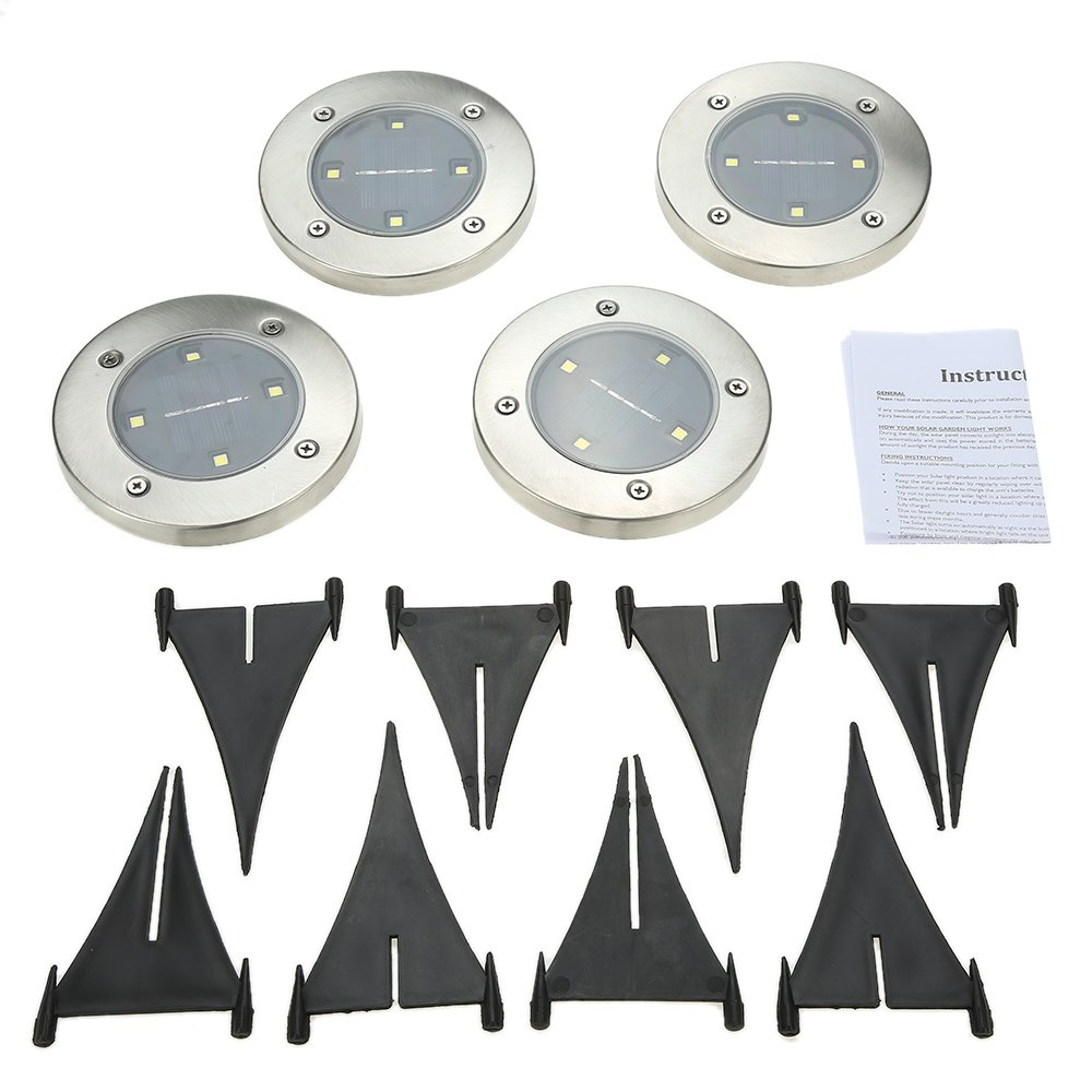 Tomshine 4Pcs 4 LED Solar Lights Outdoor Ground Lights, Water-resistant Path Garden Landscape Lighting for Yard Driveway Lawn Pathway White