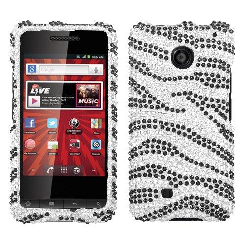 Asmyna Pcdchaserhpcdm010Np Stylish Dazzling Diamante Case For Virgin Mobile Pcd Chaser Vm2090/Wi921 - 1 Pack - Retail Packaging - Black Zebra