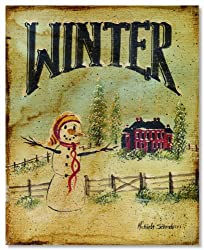 Winter Panel Primitive Folk Art by Michaela Schrader Art Print 8x10