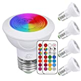 iLC LED Light Bulbs Color Changing E26 Screw 45°, 12 Colors 3W Dimmable Warm White 2700K RGB LED Spot Light Bulb with Remote Control, 20 Watt Equivalent (Pack of 4) (Color: 4 Pack, Tamaño: E26)