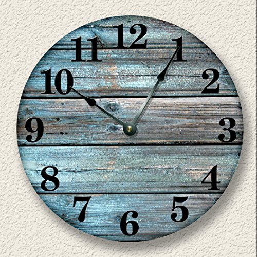Wall Clock Distressed Teal Rustic Cabin Wall Decor