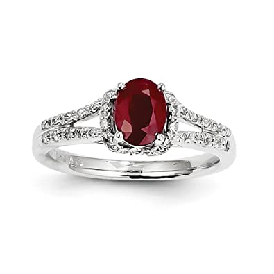14ct White Gold Diamond and Ruby Ring