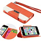 myLife Portland Orange + Bright White {Modern Design} Faux Leather (Card, Cash and ID Holder + Magnetic Closing + Hand Strap) Slim Wallet for the iPhone 5C Smartphone by Apple (External Textured Synthetic Leather with Magnetic Clip + Internal Secure Snap In Hard Rubberized Bumper Holder)