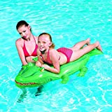 "66"" X 31"" Green Kids Inflatable Crocodile Rider Swimming Pool Beach Ride On Toy By Bestway"
