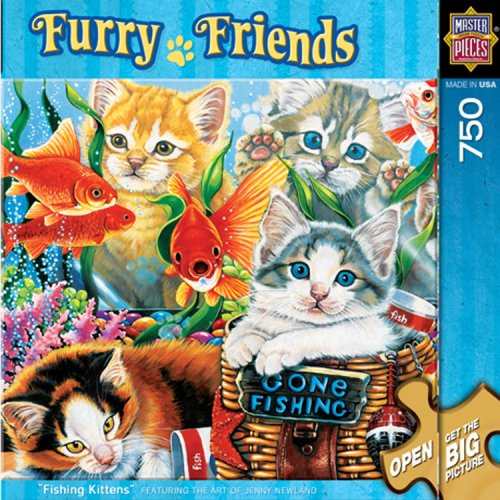 Cheap Fun MasterPieces Fishing Kittens 750 Piece Puzzle Furry Friends Collection (B001Q8YAQ0)