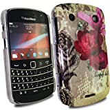 MYNC Brown Pink Rose Case Cover For BlackBerry Bold Touch 9900 / 9930