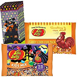 Jelly Belly Halloween kids Mix & Gourmet Candy Corn - 2 Bags of 25 Packs plus 5 Treat Bags