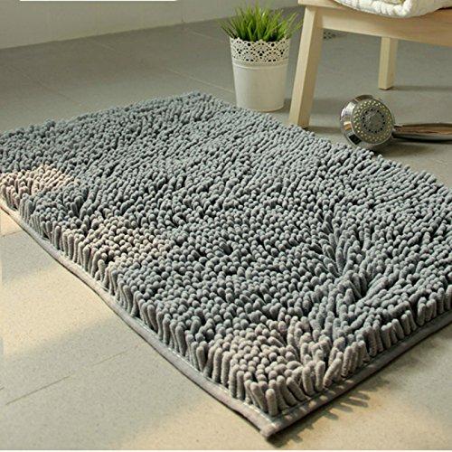 VDOMUS Non Slip Absorbent Microfiber Bath Mat 2 Piece Set Shaggy Bathroom  Mats Shower Rugs Gray