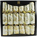 """Pack of 6 x 14"""" Deluxe Tom Smith Christmas Crakers - Gold & Cream"""