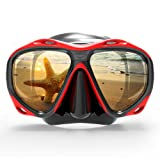 COPOZZ Snorkel Mask, Snorkeling Scuba Dive Glasses, Free Diving Tempered Glass Goggles - Optional Dry Snorkel With Comfortable Mouthpiece (4260-Red) (Color: 4260-Red, Tamaño: One-size)