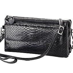 Aibag Soft Genuine Leather Crocodile Clutch Organizer Purse Shoulder Crossbody Wristlet Bag