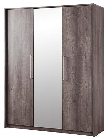 Armadio moderno a due ante e anta a specchio color rovere americano con finitura vero legno