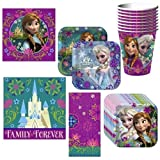 Disney Frozen Deluxe Party Supplies Pack Including Plates, Cups, Napkins and Tablecover - Guests