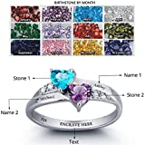 Promise Ring For Her Couples 2 Heart Birthstones 2 Names and 1 Engraving Customized and Personalized
