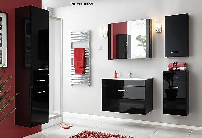 Set da bagno Viento XXL Black Mobili da bagno Set di mobili da bagno in MDF