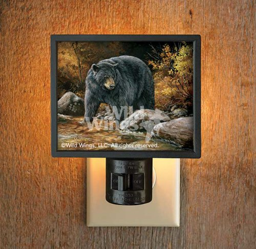 Streamside Black Bear Gallery Art Night Light by Rosemary Millette - 1