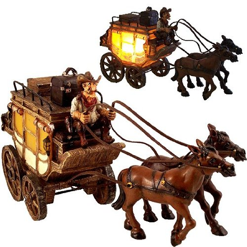 Western Cowboy `Gus` Stagecoach Nightlight Western Cowboy `Gus` Stagecoach Nightlight front-531184