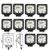 Masione Led Flood Light 27w Square 4x4 24volt Fishing Boat Lighting Tractor 12V (10 Pack, 27W Square, Flood Beam)