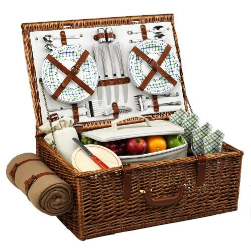 Santa Cruz Picnic Basket for 4 with Blanket & Coffee Set