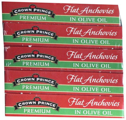Crown Prince Premium Flat Anchovies in Olive Oil, 5-2oz. Cans by Crown Prince