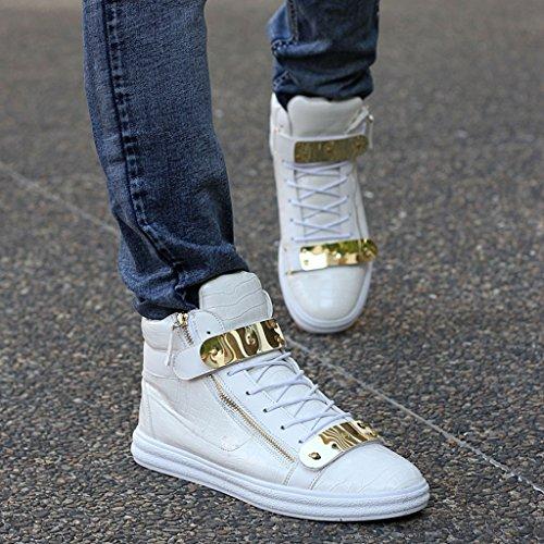 JiYe Men's Sheet Metal Zipper High-Top Shoes Fashion Sneakers,White,8.5 M US