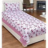 Super India Floral Pink Single Bed Sheet With One Pillow Cover 2 Pcs - 027