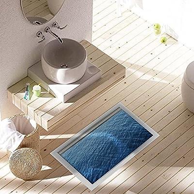 Shop24Hrs 3D Waterproof Bathroom Deep Blue Ocean Pattern Floor Sticker Anti Slip Washable Shower Room Decor