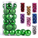 AMS Christmas Ball Ornaments Exquisite Colorful Balls Decorations Pendant Pack of 24pcs (40mm, Green)