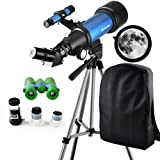 Telescope Travel Scope 70mm Refractor Telescope & 6X21 Binoculars for Kids and Astronomy Beginners for Moon Viewing Bird Watching Hiking Outdoor Games Camping - with Backpack for Carry Easy