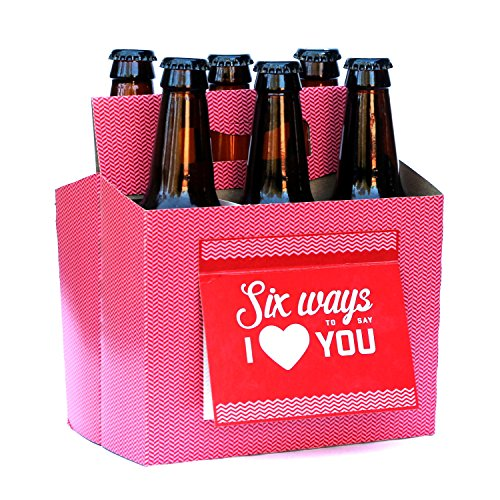Beer Greetings - Love + Thanks - Six Pack Greeting Card Box (Set of 4 Card Boxes in Heart You and Thanks Designs)